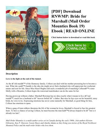 [PDF] Download RNWMP: Bride for Marshall (Mail Order Mounties Book 19) Ebook | READ ONLINE