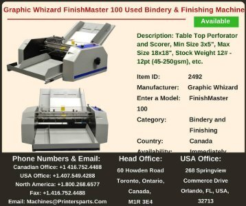 Buy Used Graphic Whizard FinishMaster 100 Bindery and Finishing Machine
