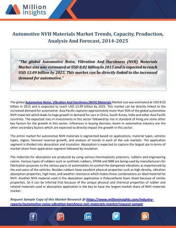 Automotive NVH Materials Market Trends, Capacity, Production, Analysis And Forecast, 2014-2025