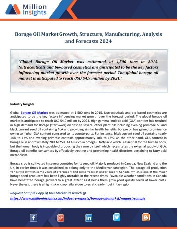 Borage Oil Market  Growth, Structure, Manufacturing, Analysis and Forecasts 2024