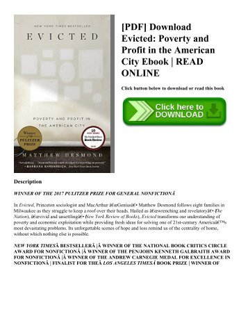 [PDF] Download Evicted: Poverty and Profit in the American City Ebook | READ ONLINE
