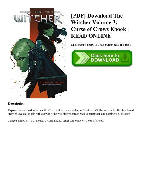 PDF] Download The Witcher Volume 3: Curse of Crows Ebook | READ ONLINE