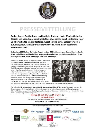 Pressemitteilung: Barber Angels nachhaltig in Stuttgart am 16. April 2018 in der Marienkirche im Einsatz