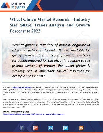 Wheat Gluten Market Segmentation and Analysis by Recent Trends, Development and Growth by Trending Regions by 2022