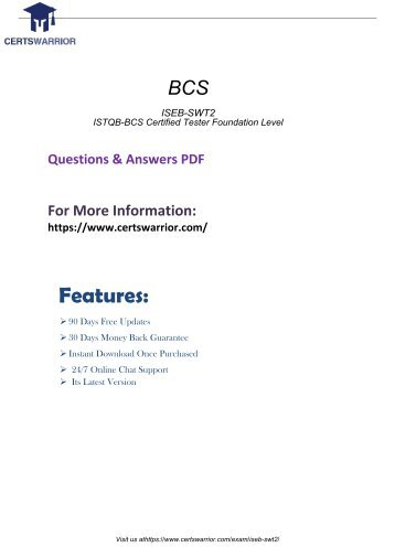 ISEB-SWT2 Instant Success Exam with Valid Questions Dumps 2018