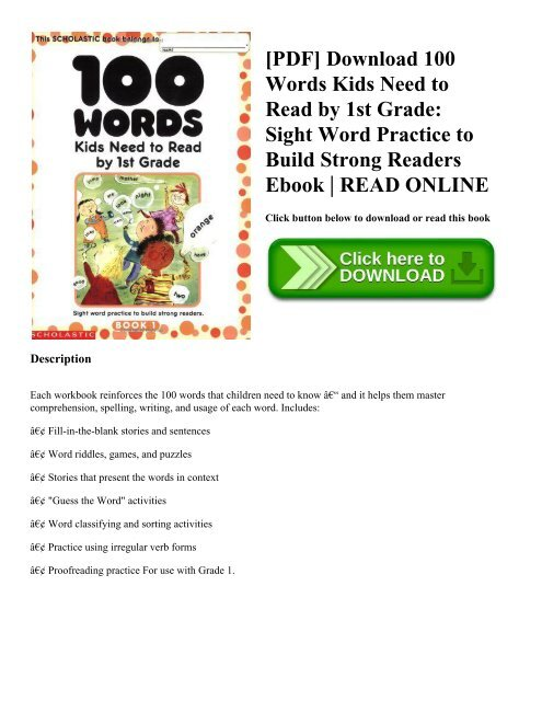 Pdf Download 100 Words Kids Need To Read By 1st Grade Sight Word