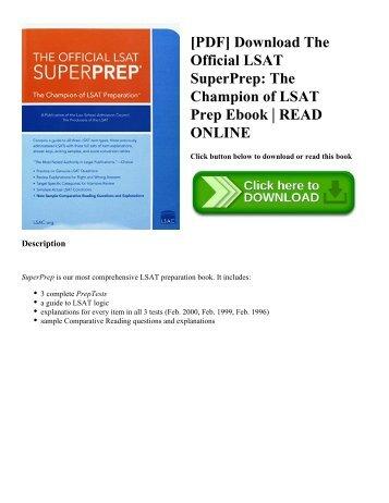 [PDF] Download The Official LSAT SuperPrep: The Champion of LSAT Prep Ebook | READ ONLINE