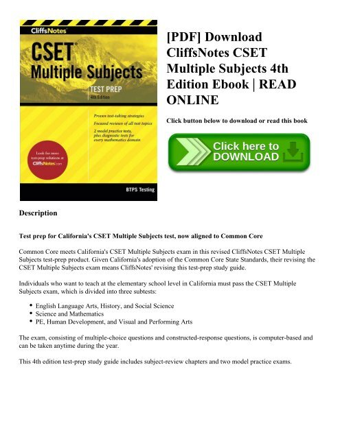 PDF] Download CliffsNotes CSET Multiple Subjects 4th Edition Ebook