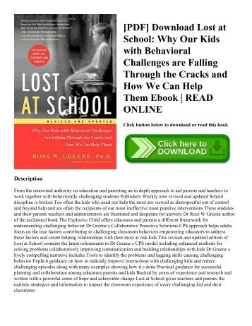 [PDF] Download Lost at School: Why Our Kids with Behavioral Challenges are Falling Through the Cracks and How We Can Help Them Ebook | READ ONLINE