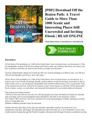 [PDF] Download Off the Beaten Path: A Travel Guide to More Than 1000 Scenic and Interesting Places Still Uncrowded and Inviting Ebook | READ ONLINE