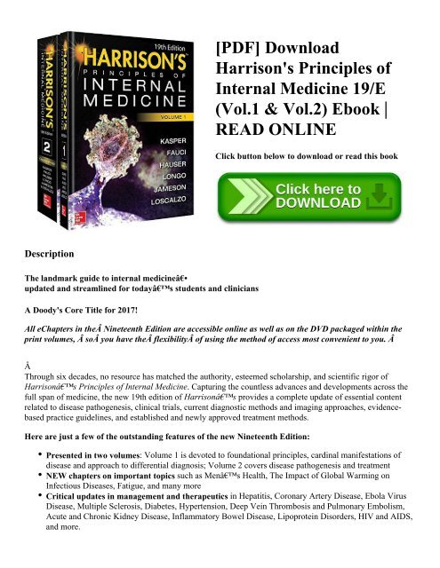 Pdf Download Harrison S Principles Of Internal Medicine 19 E Vol 1