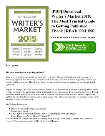 [PDF] Download Writer's Market 2018: The Most Trusted Guide to Getting Published Ebook | READ ONLINE