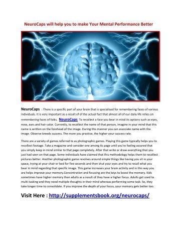 NeuroCaps will Boost Blood Flow