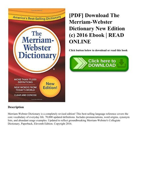 PDF] Download The Merriam-Webster Dictionary New Edition (c