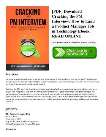 [PDF] Download Cracking the PM Interview: How to Land a Product Manager Job in Technology Ebook | READ ONLINE
