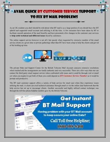 Avail Quick BT Customer Service Support to Fix BT Mail Problems