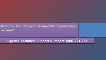 How Can You Recover Password for Bigpond Email Account