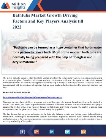 Bathtubs Market Growth Driving Factors and Key Players Analysis till 2022