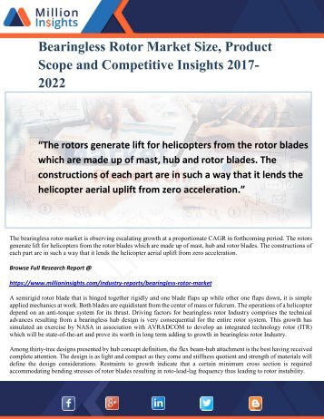 Bearingless Rotor Market Size, Product Scope and Competitive Insights 2017-2022