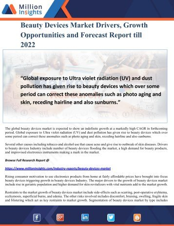Beauty Devices Market Drivers, Growth Opportunities and Forecast Report till 2022