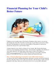 Financial Planning for Your Child's Better Future