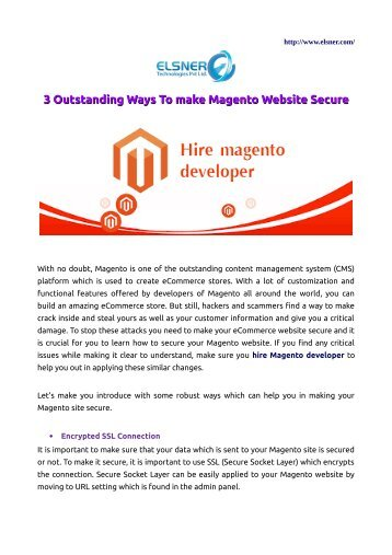 3 Outstanding Ways To make Magento Website Secure