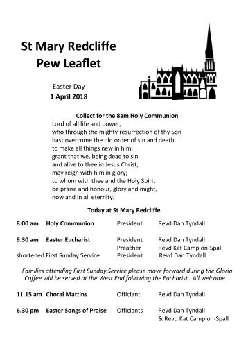 St Mary Redcliffe Church Pew Leaflet - April 1 2018