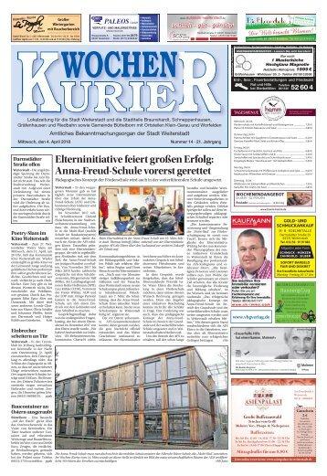 Wochen-Kurier 14/2018 - Lokalzeitung für Weiterstadt und Büttelborn