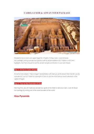 Cairo Louxor & Aswan Tour Packages
