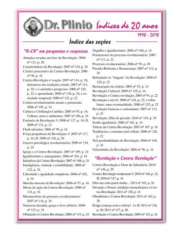 Índice Revista Dr Plinio - 20 anos