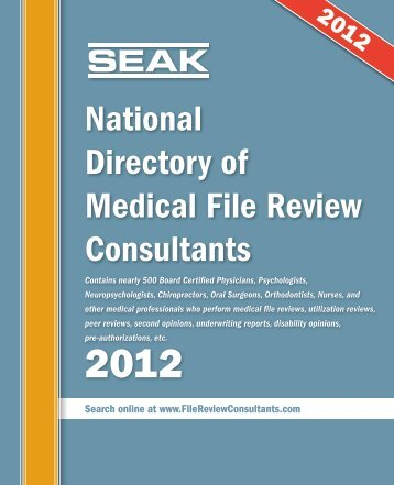 SEAK National Directory of Medical File Review Consultants