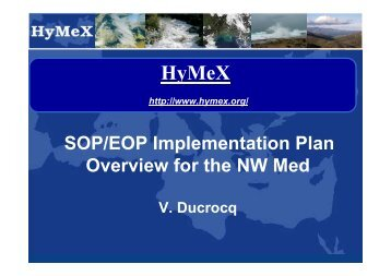 SOP/EOP Implementation Plan Overview for the NW Med - HyMeX