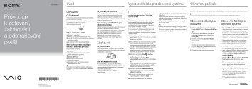 Sony VPCEJ3Q1E - VPCEJ3Q1E Guide de dépannage Tchèque