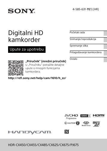 Sony HDR-CX450 - HDR-CX450 Istruzioni per l'uso Croato