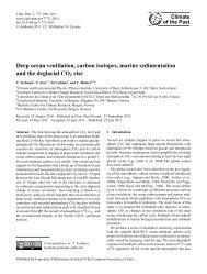 Deep ocean ventilation, carbon isotopes, marine sedimentation and ...