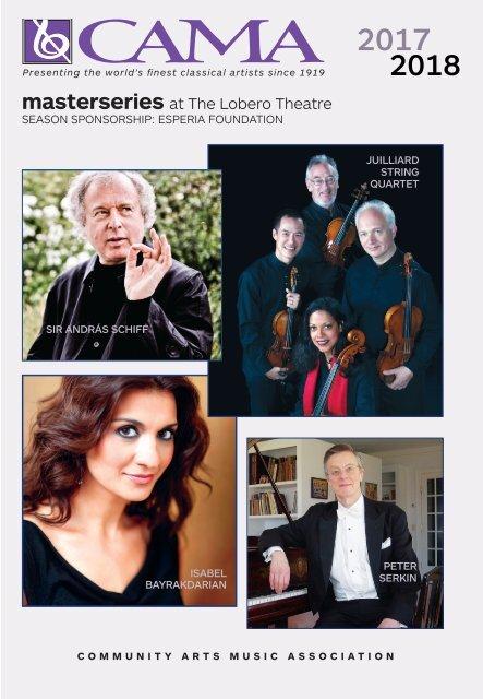 CAMA's Masterseries presents Sir András Schiff, piano / April 12, 2018 / Lobero Theatre, Santa Barbara