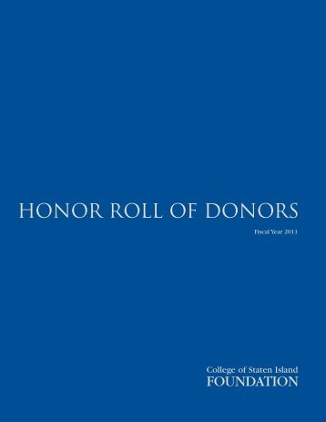 honor roll of donors 2010-2011 - CSI Today