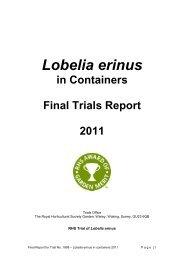 Lobelia erinus in Containers Final Trials Report 2011 - Royal ...