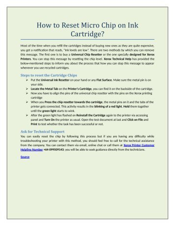 How to Reset Micro Chip on Ink Cartridge?