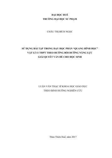"""COMBO SỬ DỤNG BÀI TẬP TRONG DẠY HỌC PHẦN """"QUANG HÌNH HỌC"""" VẬT LÍ 11 TRUNG HỌC PHỔ THÔNG THEO HƯỚNG BỒI DƯỠNG NĂNG LỰC GIẢI QUYẾT VẤN ĐỀ CHO HỌC SINH & SỬ DỤNG THÍ NGHIỆM TỰ TẠO (2017)"""