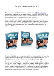 Weight loss supplements work