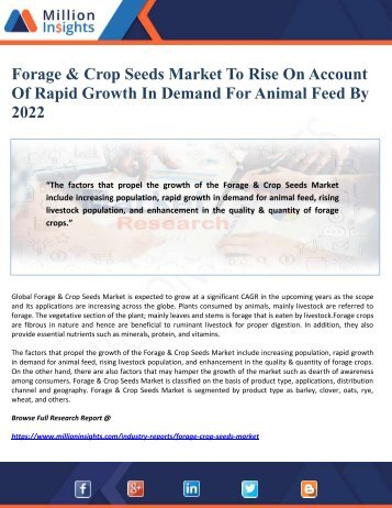 Forage & Crop Seeds Market To Rise On Account Of Rapid Growth In Demand For Animal Feed By 2022
