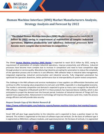Human Machine Interface (HMI) Market Manufacturers Analysis, Strategy Analysis and Forecast by 2022
