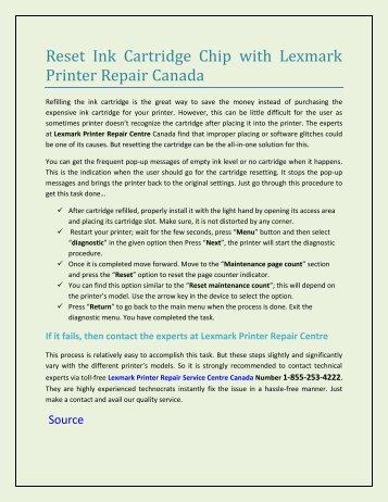 Reset Ink Cartridge Chip with Lexmark Printer Repair Canada