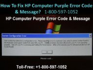 Call +1-800-597-1052 Fix HP Computer Purple Error Code