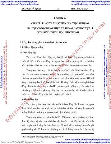 BÀI TẬP CÓ NỘI DUNG THỰC TẾ PHẦN QUANG HÌNH HỌC LỚP 11 THPT - MAI THỊ LỆ GIANG