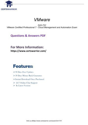 2V0-731 Exam Practice Software 2018