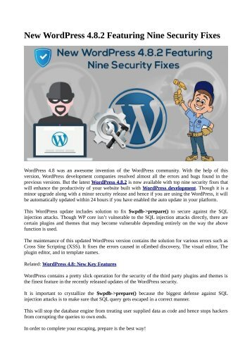 New WordPress 4.8.2 Featuring Nine Security Fixes