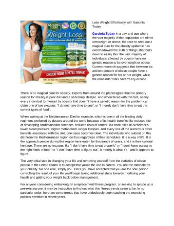 Lose Weight Effortlessly with Garcinia Today