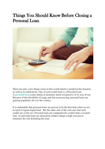 Things You Should Know Before Closing a Personal Loan
